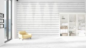 Scene with brand new interior in vogue with white rack and modern yellow chair.  Royalty Free Stock Images