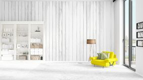 Scene with brand new interior in vogue with white rack and modern yellow chair.   Royalty Free Stock Photography