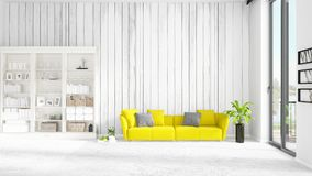 Scene with brand new interior in vogue with white rack and yellow couch.. Scene with brand new loft interior in vogue with white rack and modern yellow divan Royalty Free Stock Photography