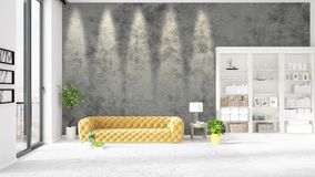 Scene with brand new interior in vogue with white rack and yellow couch.  Stock Photography