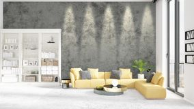 Scene with brand new interior in vogue with white rack and yellow couch.. Scene with brand new loft interior in vogue with white rack and modern yellow divan Stock Photo