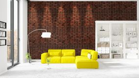 Scene with brand new interior in vogue with white rack and yellow couch.   Royalty Free Stock Photos