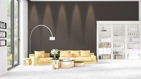 Scene with brand new interior in vogue with white rack and yellow couch.. Scene with brand new loft interior in vogue with white rack and modern yellow divan Stock Photography