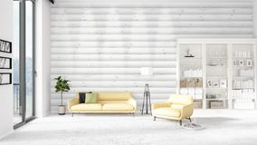 Scene with brand new interior in vogue with white rack and yellow couch.   Stock Photos