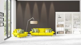 Scene with brand new interior in vogue with white rack and yellow couch.. Scene with brand new loft interior in vogue with white rack and modern yellow divan Stock Image
