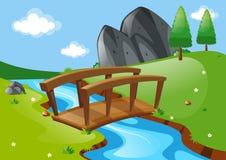 Scene with bridge over river Stock Photo