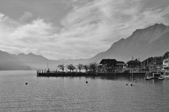 Scene in Brienz, lake Brienzersee and mountains Stock Images