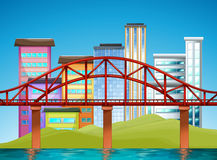 Scene with buildings and bridge Royalty Free Stock Images