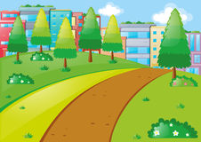 Scene with buildings and garden. Illustration Stock Images