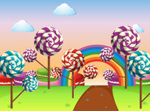 Scene with candy field. Illustration Stock Photo