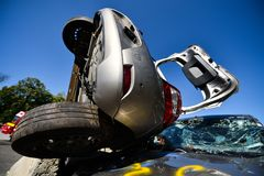 Scene of a car crash and emergency rescue service. In action royalty free stock photography
