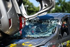 Scene of a car crash and emergency rescue service. In action royalty free stock images