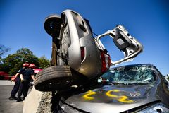 Scene of a car crash and emergency rescue service. In action stock photo