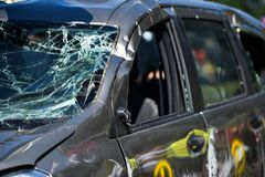Scene of a car crash and emergency rescue service. In action royalty free stock photos