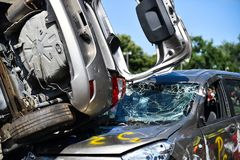 Scene of a car crash and emergency rescue service. In action stock photos