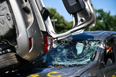 Scene of a car crash and emergency rescue service. In action royalty free stock photo