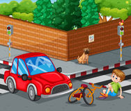 Scene with car crashing bicycle and boy getting hurt Royalty Free Stock Photography