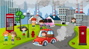 Scene with cars and factory buildings making dirty smoke in the city. Illustration