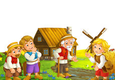 Scene with cartoon characters old man standing and talking to group of people friends or family windmill in the background Royalty Free Stock Photo