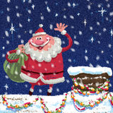 Scene of cartoon Santa Claus at roof Royalty Free Stock Image