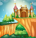 Scene with castle on the cliff Stock Photo