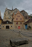 Scene of Cathedral and Timber Houses, Auxerre. Royalty Free Stock Photography