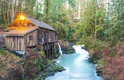 Scene of the Cedar creek grist mill in the morning,Washington,usa. Stock Image