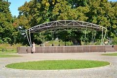 Scene on the central square. Znamensk, Kaliningrad region.  stock photos