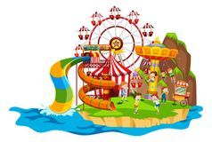 Scene with children playing rides Stock Photos