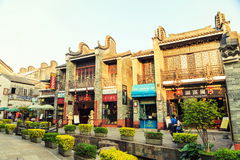 Ancient town China. Scenery and street view of ancient town in China. Eastern Asian Chinese traditional old small town in oriental classical style in Guangzhou royalty free stock images