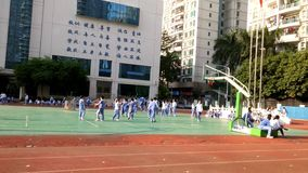 The scene of Chinese primary school students in physical education class