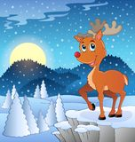 Scene with Christmas deer 3 Stock Images