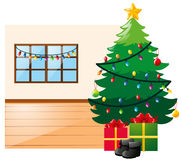 Scene with christmas tree and present boxes Stock Photography