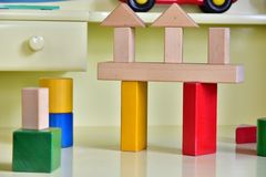 Scene of the colorful building block. Scene of the building block of the colorful toy on the desk royalty free stock photo