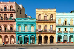 Scene with colorful buildings in downtown Havana Royalty Free Stock Images