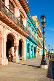 Scene with colorful buildings in downtown Havana Royalty Free Stock Image