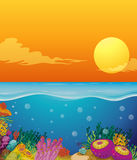 Scene with coral reef under the ocean. Illustration Stock Photo