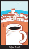 Scene with a cup of coffee in town by the sea Royalty Free Stock Image