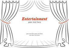 Scene with curtains. Entertainment poster template with scene and curtains Royalty Free Stock Photography