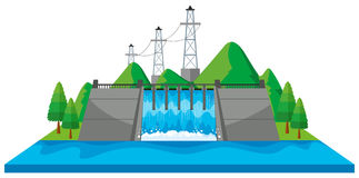 Scene with dam and electric towers in 3D design Stock Image