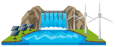 Scene with dam and river. Illustration Stock Photography