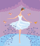 Scene with dancing ballerina Royalty Free Stock Photo