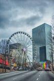 Scene del centro dell'orizzonte di Atlanta a gennaio il giorno nuvoloso fotografie stock libere da diritti