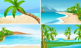 Scene dell'oceano con i cocchi e l'isola illustrazione di stock