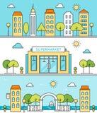 Scene della città Vie, costruzioni, supermercato, area del lungonmare Immagini Stock