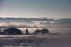 Scene dello Snowy intorno alla baia di Trearddur Fotografia Stock