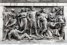Scene di bassorilievo sulla parete dello Stele dedicato all'appunto Fotografia Stock Libera da Diritti
