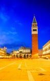 Scene di notte del campanile alla piazza San Marco Fotografia Stock Libera da Diritti