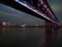 Scene di notte del changjiang del fiume Chang Jiang Fotografie Stock