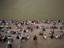 Scene di notte del changjiang del fiume Chang Jiang Fotografie Stock Libere da Diritti